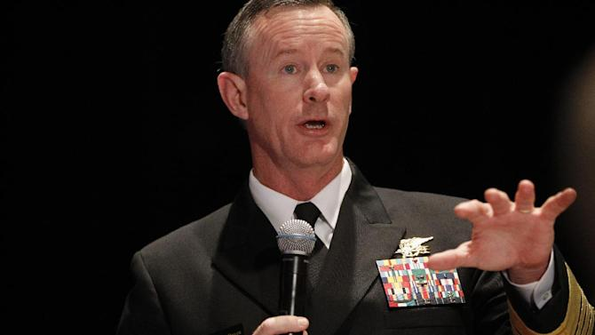 FILE - This Feb. 7, 2012 file photo shows Navy Adm. Bill McRaven, commander of the U.S. Special Operations Command speaking in Washington. U.S. officials say the Pentagon is stepping up aid for Mexico's bloody drug war with a new U.S.-based special operations headquarters to teach Mexican security forces how to hunt drug cartels the same way special operations teams hunt al-Qaida.  (AP Photo/Charles Dharapak, File)