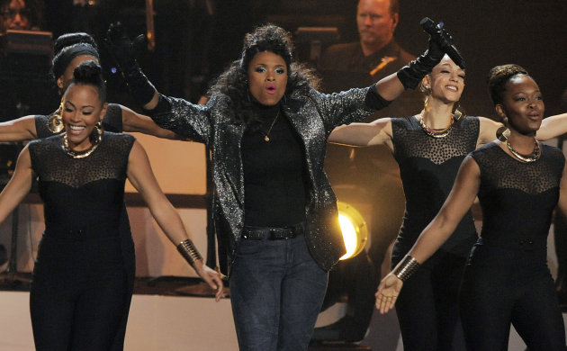 Singer Jennifer Hudson performs onstage at &quot;We Will Always Love You: A Grammy Salute to Whitney Houston,&quot; at Nokia Theatre on Thursday, Oct. 11, 2012, in Los Angeles. The one-hour concert tribute will air on CBS on Nov. 16. (Photo by Chris Pizzello/Invision/AP)