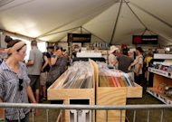 A record store at the Coachella Valley Music & Arts Festival on April 17, 2011 in Indio, California. US music industry sales held nearly steady in 2012 as gains from digital subscription services offset further declines in physical disc sales, an industry survey showed