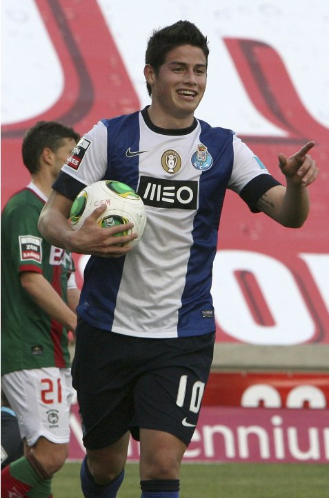 Porto's James Rodriguez celebrates his goal against Maritimo during their Portuguese Premier League soccer match at Barreiros stadium in Funchal