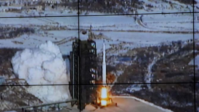 In this monitor screen image taken and released by the Korean Central News Agency and distributed in Tokyo by the Korea News Service, the Unha-3 rocket lifts off from a launch site on the west coast, in the village of Tongchang-ri, about 56 kilometers (35 miles) from the Chinese border city of Dandong, North Korea, Wednesday, Dec. 12, 2012. North Korea successfully fired a long-range rocket on Wednesday. (AP Photo/Korea Central News Agency via Korea News Service)  JAPAN OUT UNTIL 14 DAYS AFTER THE DAY OF TRANSMISSION