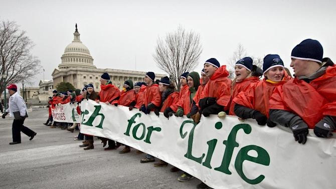 Anti-abortion activists march past the Capitol in Washington, Friday, Jan. 25, 2013, to the Supreme Court as they observe the 40th anniversary of the Roe v. Wade decision. Thousands of anti-abortion demonstrators marched through Washington to the steps of the U.S. Supreme Court to protest the landmark decision that legalized abortion.   (AP Photo/J. Scott Applewhite)
