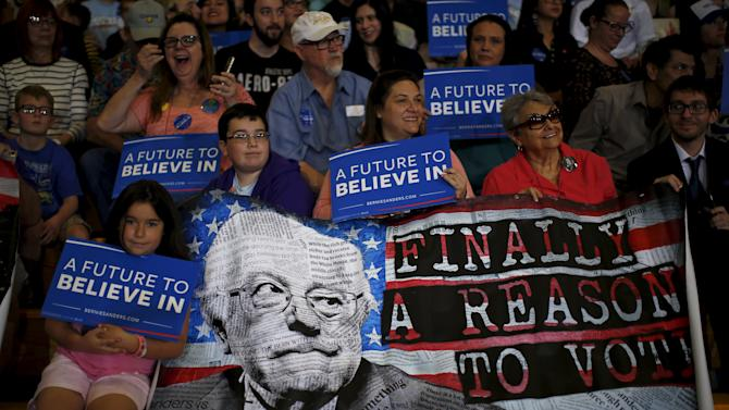 Supporters attend a campaign rally for U.S. Democratic presidential candidate Bernie Sanders in Las Vegas