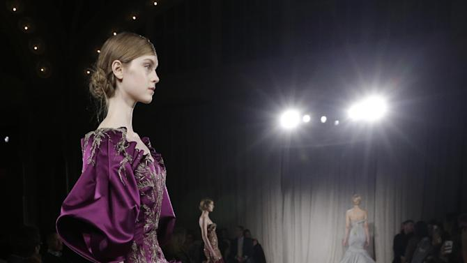 Models walk the runway during the Marchesa Fall 2013 fashion show during Fashion Week in New York on Wednesday, Feb. 13, 2013.  (AP Photo/Kathy Willens)