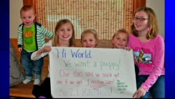 Dad's Facebook bet gets kids puppy