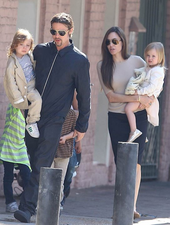 Pitt Jolie With Kids New Orleans