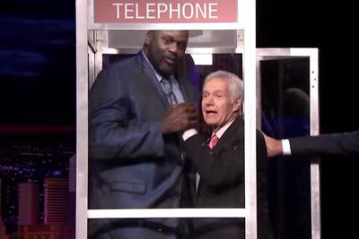 Here are the GIFs of Alex Trebek and Shaq snuggling in a phone booth you've been waiting for