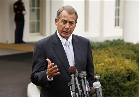 Speaker of the House John Boehner speaks about the sequester following a meeting with President Barack Obama and congressional leaders at the White House in Washington March 1, 2013. REUTERS/Kevin Lamarque