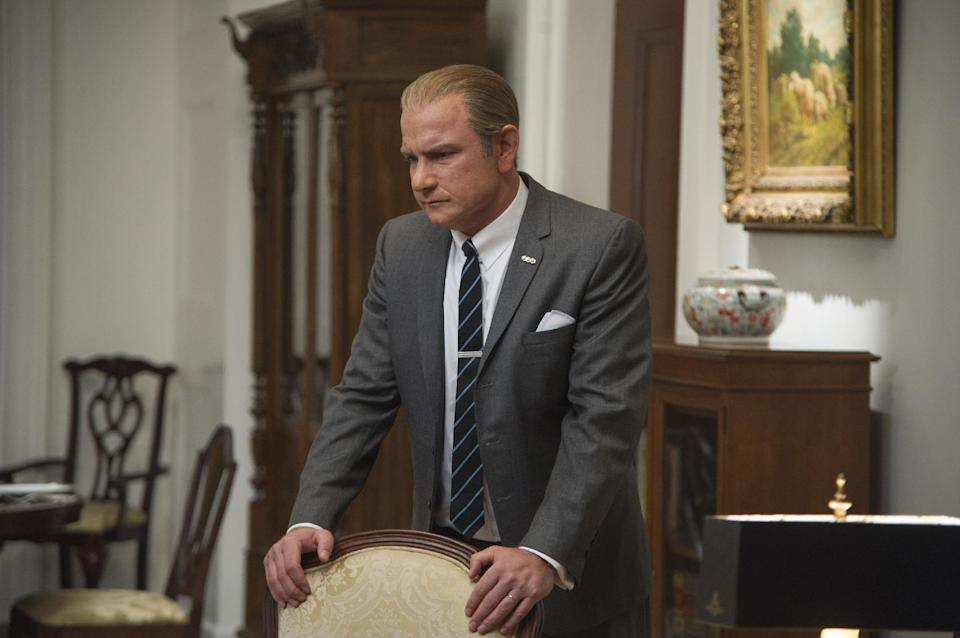 "This film image released by The Weinstein Company shows Liev Schreiber as Lyndon B. Johnson in a scene from ""Lee Daniels' The Butler."" (AP Photo/The Weinstein Company, Anne Marie Fox)"