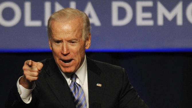 Vice President Joe Biden speaks during the South Carolina Democratic parties Jefferson Jackson Dinner Friday, May 3, 2013, in Columbia, SC. (AP Photo/Mary Ann Chastain)