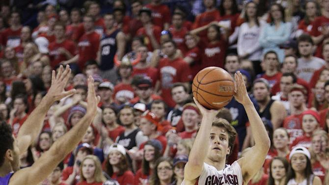 Gonzaga's Kevin Pangos (4) takes a shot against Portland's Alec Wintering during the second half of an NCAA college basketball game, Thursday, Jan. 29, 2015, in Spokane, Wash. Gonzaga won 64-46. (AP Photo/Young Kwak)