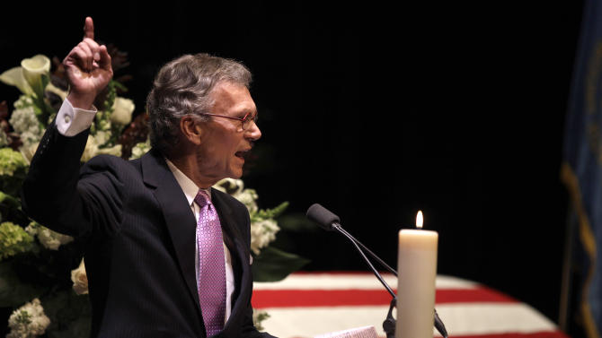 Former U.S. Sen. Tom Daschle speaks during funeral services for former Democratic U.S. Senator and three-time presidential candidate George McGovern at the Washington Pavilion of Arts and Sciences in Sioux Falls, S.D., Friday, Oct. 26, 2012. McGovern died Sunday Oct. 21, 2012, in his native South Dakota at age 90. (AP Photo/M. Spencer Green, Pool)