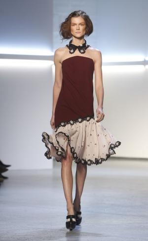 The Rodarte fall 2012 collection is modeled during Fashion Week, Tuesday, Feb. 14, 2012, in New York. (AP Photo/Jason DeCrow)