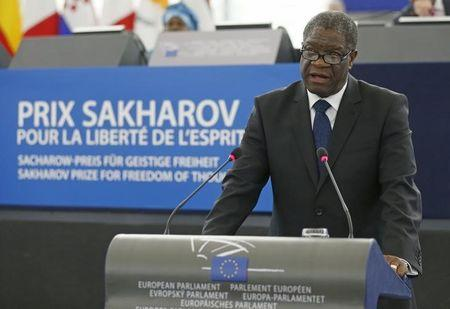 Congolese gynaecologist Mukwege delivers a speech during an award ceremony to receive his 2014 Sakharov Prize at the European Parliament in Strasbourg