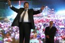 FILE - In this Sunday, May 20, 2012 file photo, the Muslim Brotherhood's presidential candidate Mohammed Morsi hold a rally in Cairo, Egypt. Egypt's electoral commission announced Sunday, June 24, 2012 that Morsi is victor of landmark presidential vote.(AP Photo/Fredrik Persson, File)