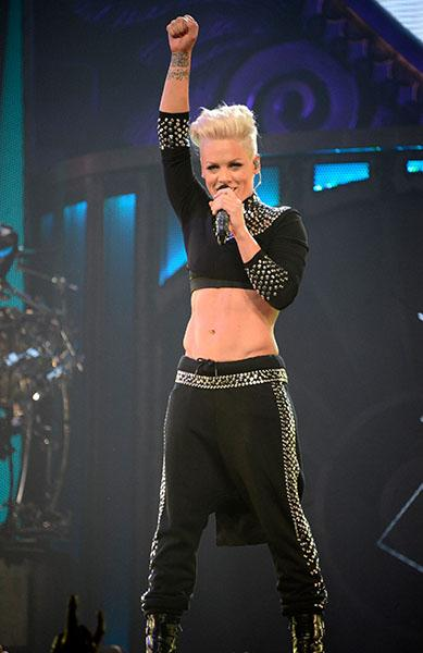 P!nk performs during 'The Truth About Love' tour opener at US Airways Center on February 13, 2013 in Phoenix