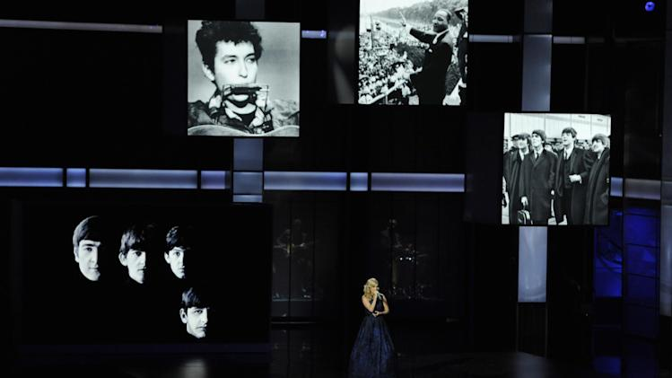 "Carrie Underwood performs ""Yesterday"" by the Beatles at the 65th Primetime Emmy Awards at Nokia Theatre on Sunday Sept. 22, 2013, in Los Angeles. (Photo by Chris Pizzello/Invision/AP)"
