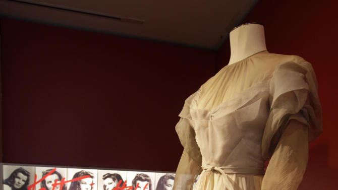 "A gown by Valentina, from the 1942 production of ""Without Love,"" is shown as part of the ""Katharine Hepburn: Dressed for Stage and Screen"" exhibit in the New York Public Library for the Performing Arts at Lincoln Center,  Tuesday, Oct. 16, 2012. (AP Photo/Richard Drew)"