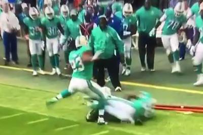 Ndamukong Suh's foot hit Ryan Fitzpatrick's head