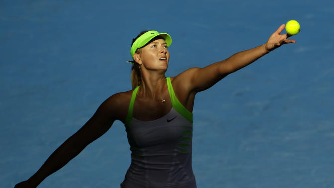 Jan. 26 Maria Sharapova of Russia serves to Petra Kvitova of the Czech Republic during their semifinal at the Australian Open tennis championship, in Melbourne, Australia, Thursday, Jan. 26, 2012. (AP Photo/Sarah Ivey)