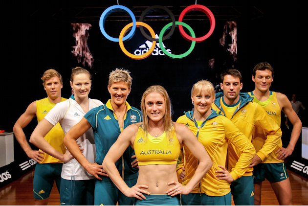Australian Olympic athletes (L to R) Henry Frayne, Cate Campbel, Natalie Cook, Sally Pearson, Jessica Schipper, Mitchell Watt and Craig Mottram pose during the unveiling of the Australian Olympic team