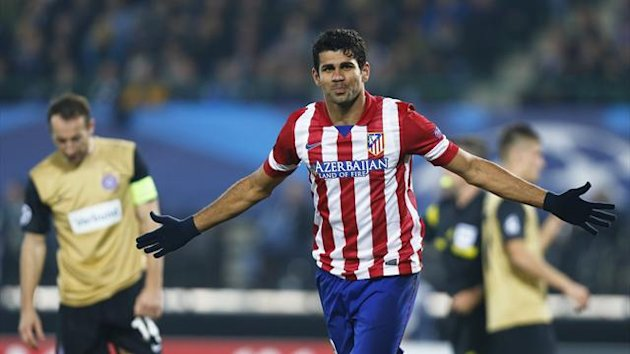 Atletico Madrid's Diego Costa celebrates after scoring a goal against Austria Vienna during their Champions League Group G match in Vienna October 22, 2013 (Reuters)