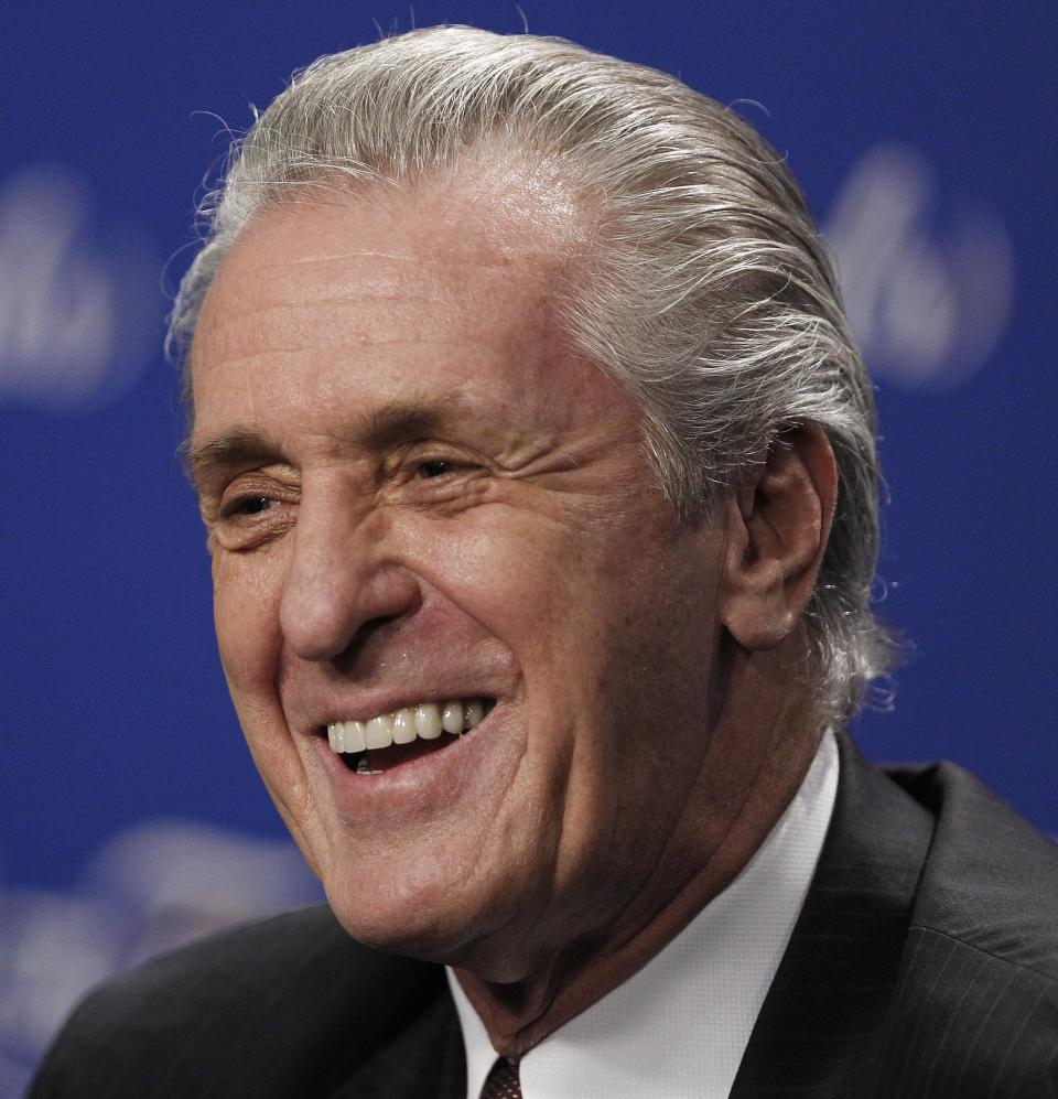 Former NBA coach Pat Riley, reacts during a news conference while receiving the National Basketball Coaches Association's 2012 Chuck Daly Lifetime Achievement Award before Game 4 of the NBA finals basketball series between the Oklahoma City Thunder and the Miami Heat, Tuesday, June 19, 2012, in Miami.  (AP Photo/Wilfredo Lee)