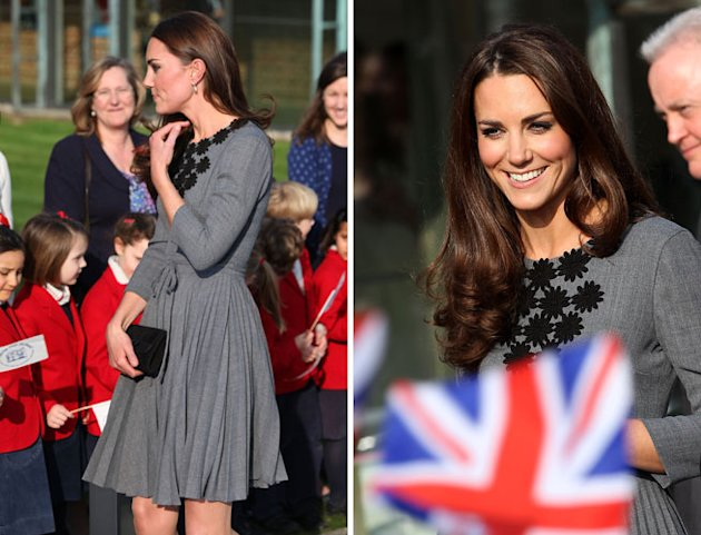 Kate Middleton Wears a Grey Orla Kiely Dress at the Dulwich Gallery Today