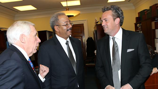 IMAGE DISTRIBUTED FOR THE NATIONAL ASSOCIATION OF DRUG COURT PROFESSIONALS - National Association of Drug Court Professionals 'All Rise Ambassador' Actor Matthew Perry, right, meets with Representatives Chaka Fattah (D-PA), center, and Frank Wolf (R-VA), left, following his testimony in support of Drug Courts and Veterans Treatment Courts before the House Commerce, Justice & Science Appropriations Subcommittee on Thursday, March 21, 2013 in Washington, DC. (Paul Morigi / AP Images for The National Association of Drug Court Professionals)