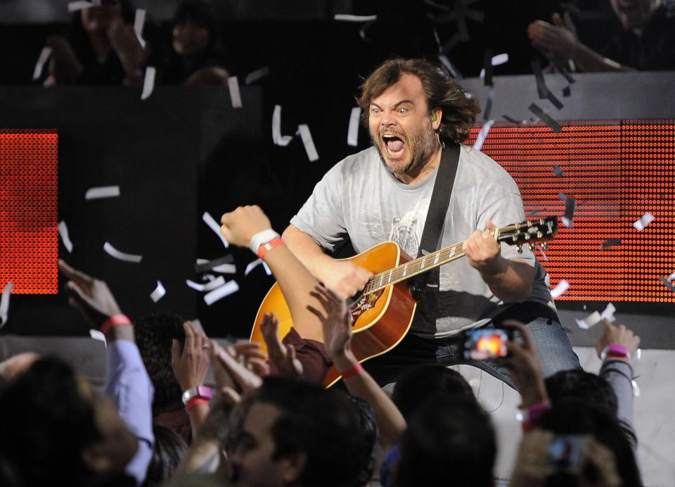 Jack Black, of musical group Tenacious D, performs on stage at Spike's 10th Annual Video Game Awards at Sony Studios on Friday, Dec. 7, 2012, in Culver City, Calif. (Photo by Chris Pizzello/Invision/AP)