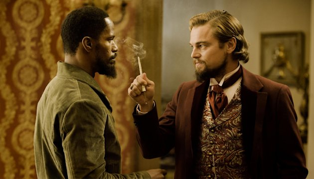 "FILE - In this undated publicity file photo released by The Weinstein Company, from left, Jamie Foxx and Leonardo DiCaprio star in the film, ""Django Unchained,"" directed by Quentin Tarantino. (AP Photo/The Weinstein Company, Andrew Coope, File)"