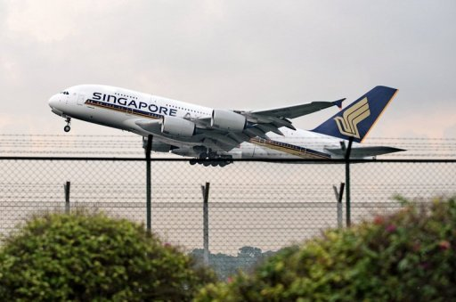<p>A Singapore Airlines' Airbus A380 takes off from Changi airport in 2010. The airline has announced it is ordering five more A380 superjumbos and 20 A350s in deals worth $7.5 billion.</p>