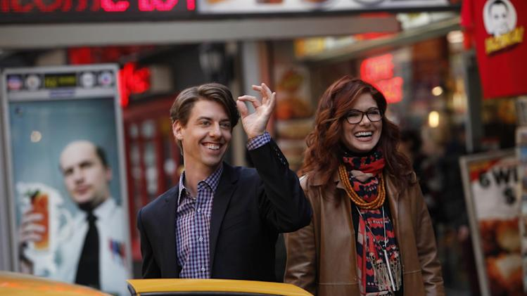 "In this image released by NBC, Christian Borle portrays Tom, left, and Debra Messing portrays Julia in the new series ""Smash,"" airing Mondays at 10 p.m. EST on NBC. (AP Photo/NBC, Will Hart)"