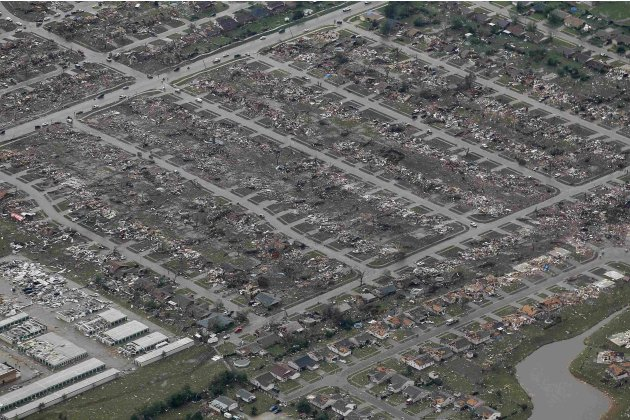 An aerial view of tornado damage to neighborhoods in Moore, Oklahoma