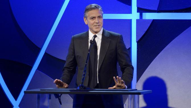 George Clooney speaks at the 19th annual Art Directors Guild Excellence in Production Design awards in Beverly Hills, California