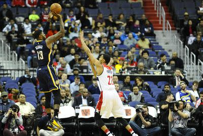 Paul George did his best Stephen Curry impression against the Wizards