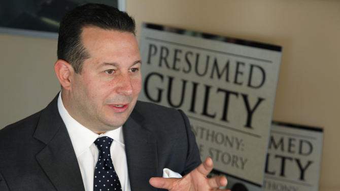 """In this Tuesday, July 3, 2012 photo, Casey Anthony's defense attorney, Jose Baez, gestures as he speaks during an interview with The Associated Press in Coral Gables, Fla. In his just-published book """"Presumed Guilty, Casey Anthony: The Inside Story,"""" Baez said prosecutors offered in 2008 to allow Anthony to plead guilty to aggravated manslaughter of a child and serve up to 13 years in prison. Baez said that in those early days he thought taking it might be in Anthony's best interest. (AP Photo/Wilfredo Lee)"""