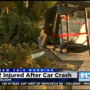 2 People Injured In Folsom When Car Hits Bus Stop And Building