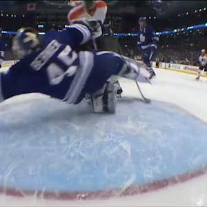 Bernier dives through bodies to make save