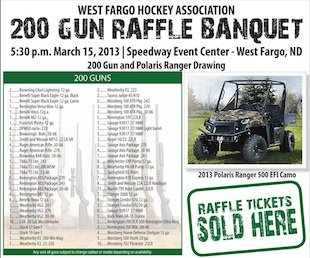 A promotional poster for the West Fargo gun raffle — West Fargo Hockey Association