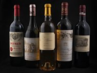 "Pictured bottles of French Bordeaux ""Grands Crus classes"" wine comprise (L-R) Petrus (Pomerol), Chateau Haut Brion (Graves), Chateau Yquem (Sauternes), Chateau Mouton Rothschild (Pauillac) and Chateau Lafite Rothschild (Pauillac). Bordeaux wine producers warned Monday that an EU decision to allow US rivals to use the term 'chateau' on bottles sold in Europe would amount to ""cheating consumers"""