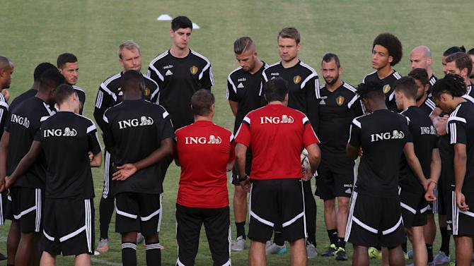 Belgium's national team takes part in a training session at GSP stadium in Nicosia