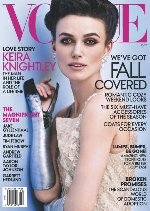 "This cover image released by Vogue shows actress Keira Knightley on the cover of the October issue of ""Vogue."" The October issue of Vogue goes on sale nationwide Sept. 25. (AP Photo/Vogue)"