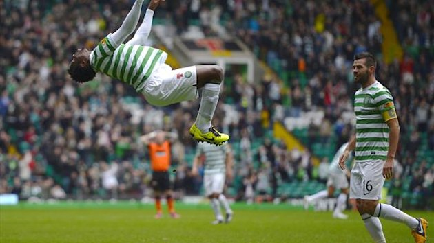 Celtic&#39;s Efe Ambrose celebrates his goal against Dundee United during their Scottish Premier League  match at Celtic Park (Reuters)