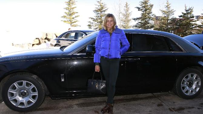 """IMAGE DISTRIBUTED FOR RAND LUXURY -Mariel Hemingway  from the film """"Running from Crazy"""" arrives with in a Rolls Royce at Resorts West House of Luxury, on Monday, Jan 21. 2013 in Park City, Utah. (Photo by Benjamin Cohen/Invision for Rand Luxury/AP Images)"""