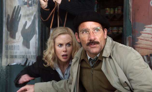 FILE - In this file photo released by HBO, Nicole Kidman portrays Martha Gelhorn, left, and Clive Owen portrays Ernest Hemingway in a scene from the HBO film, &quot;Hemingway & Gellhorn.&quot; The film was nominated for an Emmy award for Outstanding miniseries or movie on Thursday, July 19, 2012. Kidman and Owen were also nominated for outstanding actress and actor in a miniseries or movie. The 64th annual Primetime Emmy Awards will be presented Sept. 23 at the Nokia Theatre in Los Angeles, hosted by Jimmy Kimmel and airing live on ABC. (AP Photo/HBO, File)