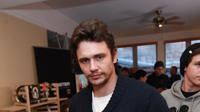 Actor James Franco visits the Monster Products booth at the Fender Music lodge during the Sundance Film Festival on Sunday, Jan. 20, 2013, in Park City, Utah. (Photo by Barry Brecheisen/Invision for Fender/AP Images)