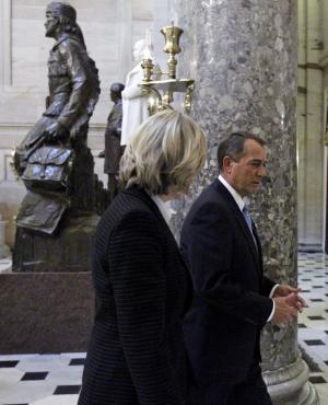 House speaker-in-waiting Rep. John Boehner of Ohio, walks with ABC anchor Diane Sawyer in Statuary Hall on Capitol Hill in Washington, Thursday, Nov. 4, 2010. (AP Photo/Alex Brandon)