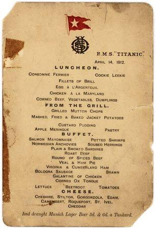 Handout image shows the last first-class luncheon menu from the ill-fated luxury cruise liner, the Titanic