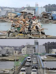 A combo of pictures shows a bridge in the tsunami hit area of Ishinomaki near Sendai, on January 15 (top), and March 15 (bottom). Politicians and aid officials gathered on Japan&#39;s quake- and tsunami-hit coast Tuesday to discuss what lessons can be learned from disasters